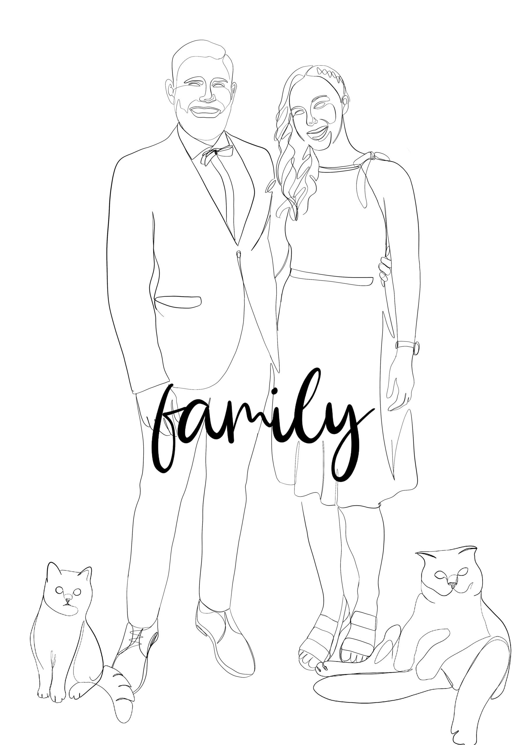 one line poster family